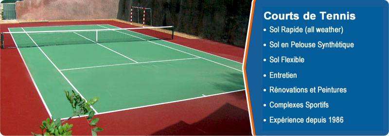 TENNIS COURTS: All Weather Surfaces, Soft Surfaces, Synthetic Surfaces, Maintenance, Renovations and Painting, Multiple Purpose Surfaces